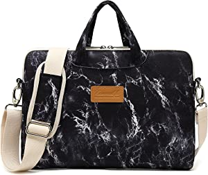 Canvaslife Black Marble Pattern 15 inch Waterproof Laptop Shoulder Messenger Bag Case with Rebound Bubble Protection for 14 inch-15.6 inch Laptop 15 Case Bag