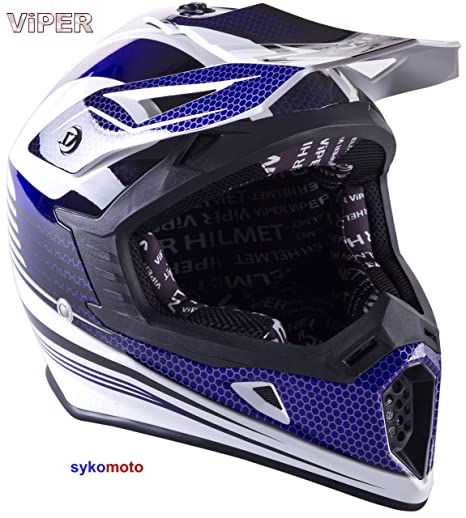 Amazon.es: VIPER RS X95 MOTOCROSS MOTO QUAD ATV DIRT ENDURO OFF ROAD DEPORTE CARRERAS MOTO CASCO AZUL (XS (53-54 CM))