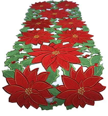 holiday poinsettia red embroidered christmas flower table runner home dinner festival decorations 1 oblong16