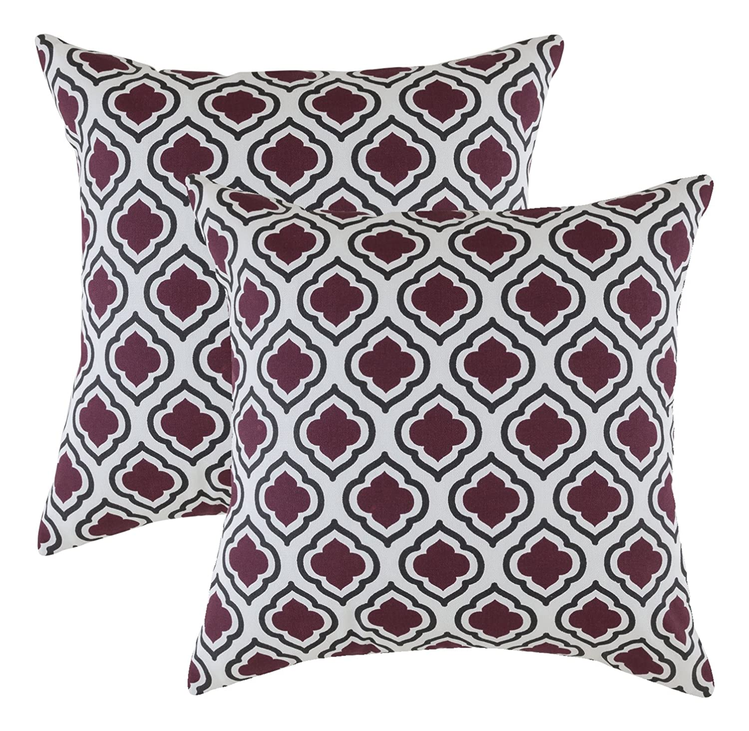 Pack of 2 COMIN18JU089008 TreeWool Decorative Square Throw Pillow Covers Set Clover Accent Soft 100/% Cotton Cushion Cases Pillowcases 18 x 18 Inches // 45 x 45 cm; Yellow /& Black in Cream Background