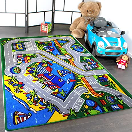 Mybecca Kids Rug Harbor Children Area Rug 5u0027 X 7u0027 (New Street Map