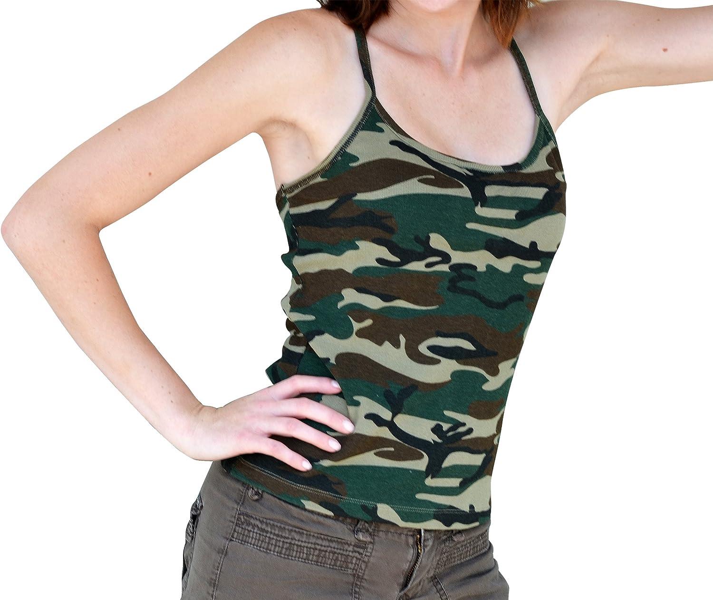 Redfox CAMI Camo Print Camouflage Laying Tank Top Tunic Spaghetti Camisole Cotton Large