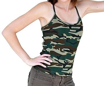 ed6963aba5f44 Redfox CAMI Camo Print Camouflage Laying Tank Top Tunic Spaghetti Camisole  Cotton XL