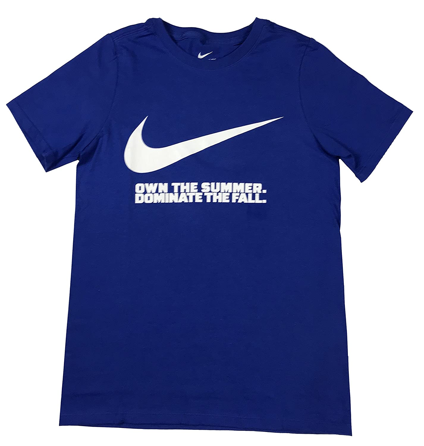 Game Royal//White, Medium Nike Boys Big Swoosh Own The Summer Graphic Cotton Shirt