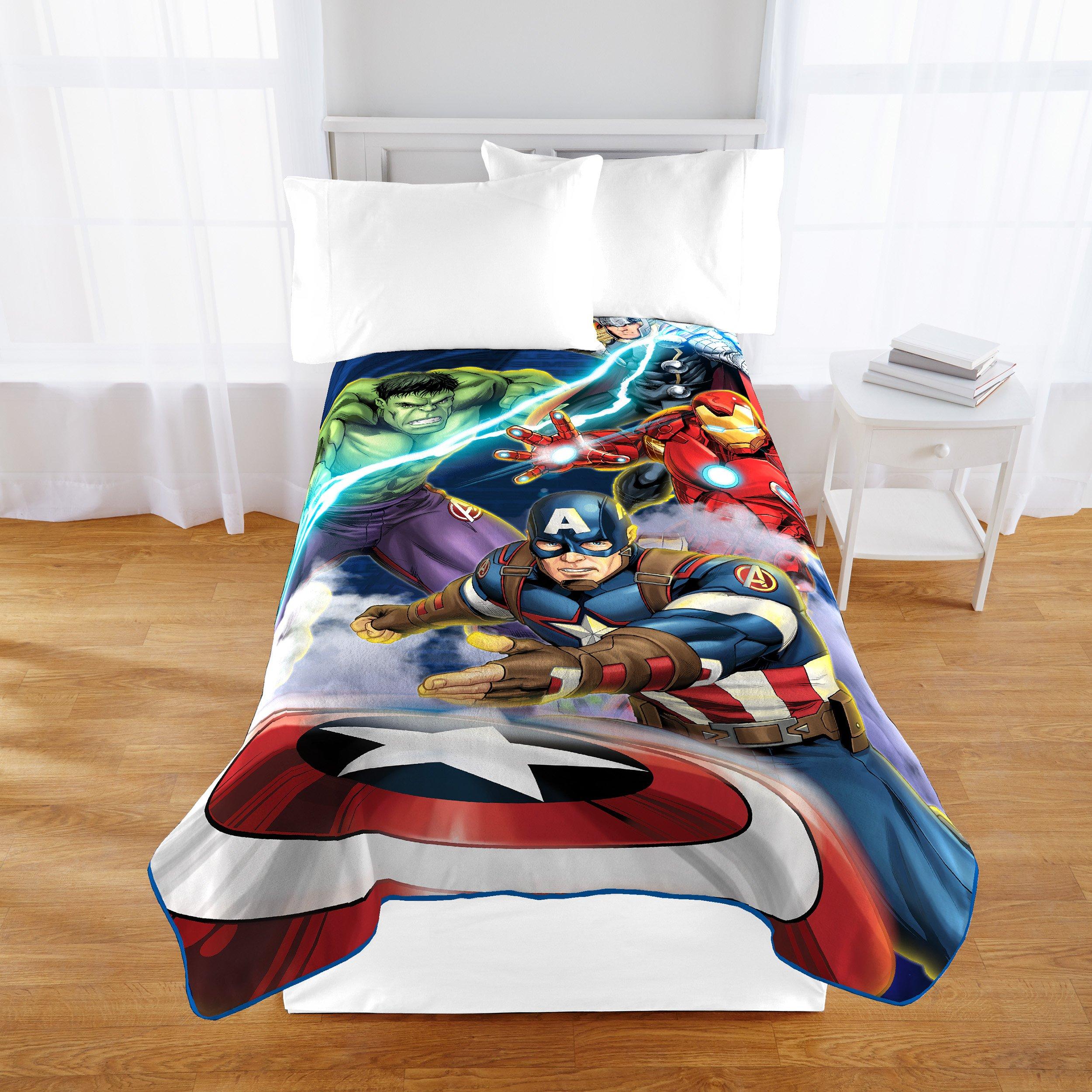 Marvel Avengers Blue Circle Fleece Plush Blanket, 62 x 90/Twin by Jay Franco (Image #2)