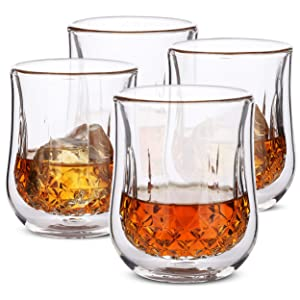 BTäT- Whiskey Glasses, Double Wall Glasses, Set of 4, Bourbon Glasses, Cocktail Glasses, Scotch Glasses, Old Fashioned Glass, Rocks Glass, Crystal Glasses, Vodka Glasses, Drinking Glasses, Gifts, Gins