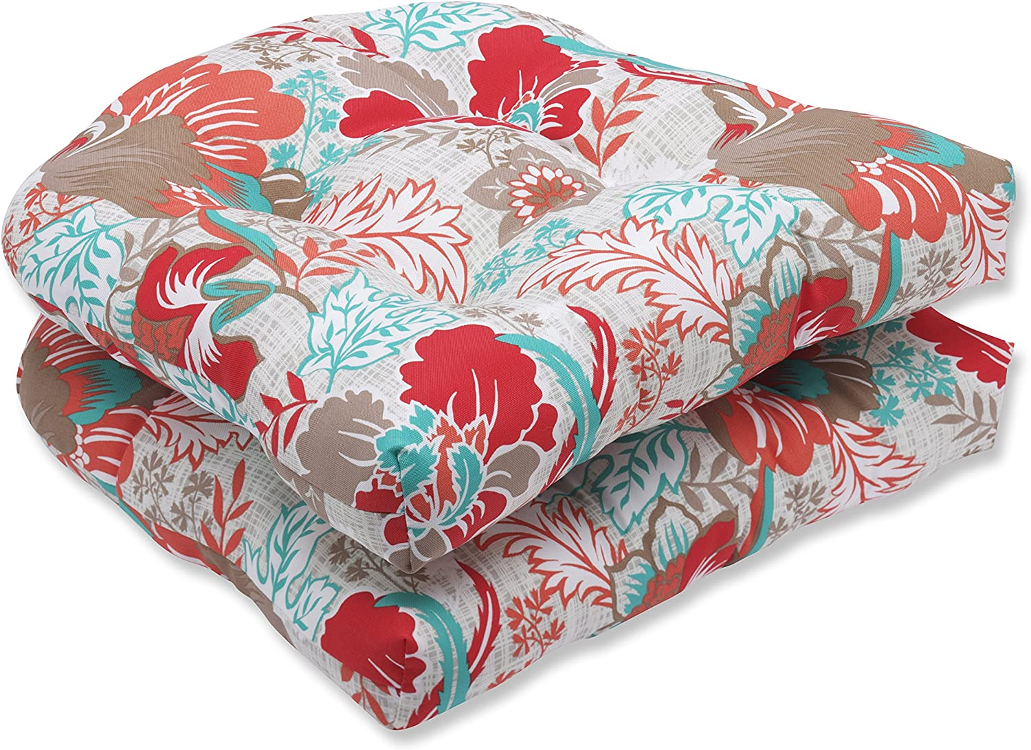 Pillow Perfect Outdoor Suzanne Spring Wicker Seat Cushion, Multicolored, Set of 2