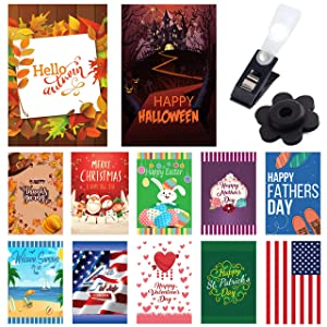 Seasonal Garden Flags 12 Pack - Classic Elegance - 12 Pack Set of 12x18 inch Small Holiday Yard Flags - Double Sided Design for All Seasons and Holidays - Premium Quality Durable Material