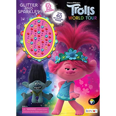 DREAMWORKS TROLLS World Tour 48-Page Coloring and Activity Book with Jewel Stickers 47359: Toys & Games