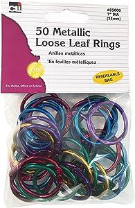 """Charles Leonard Loose Leaf Rings, 1"""" Diameter, Metallic Assorted Colors, 50 per Bag, 1 Bag (85000)"""