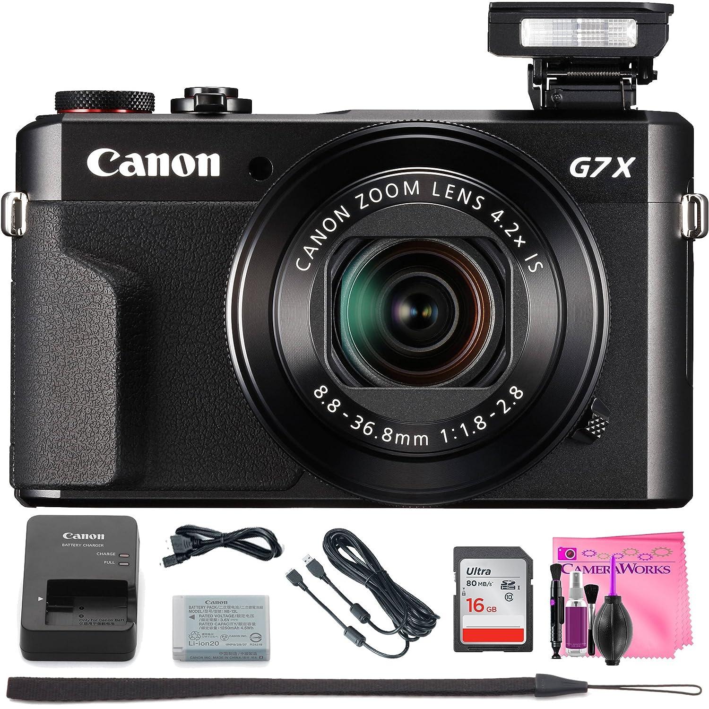 Canon PowerShot g7 X Mark IIデジタルカメラW / 1インチセンサーand Tilt LCD画面 – Wi - Fi & NFC有効(ブラック) +カメラWorksデジタルカメラクリーニングソリューション&高速メモリカード(16gb)   B07CSBZ9T9