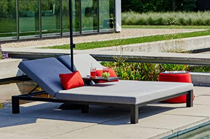 Amazon De Hartman Eva Doppel Loungeliege Flanelle Sunbrella 196 X 161 X 34 Cm Ruckenlehne Verstellbar