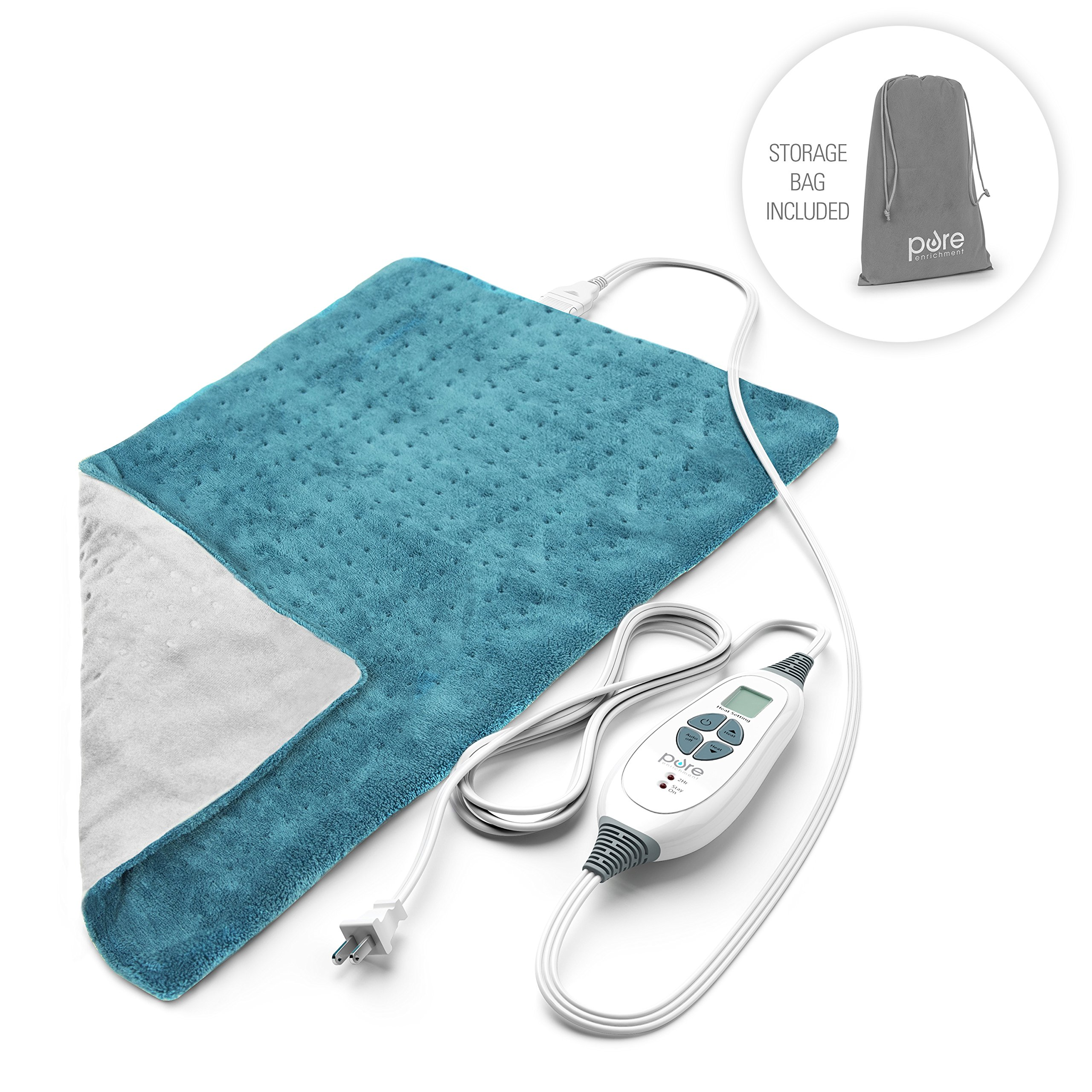 PureRelief XL – King Size Heating Pad with Fast-Heating Technology, 6 Temperature Settings, Convenient Storage Bag – Turquoise Blue (12'' x 24'')