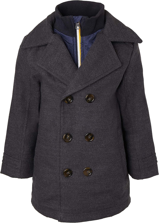 Size 4 Sportoli Boys Classic Wool Look Lined Winter Vestee Dress Pea Coat Peacoat Jacket Charcoal Vestee