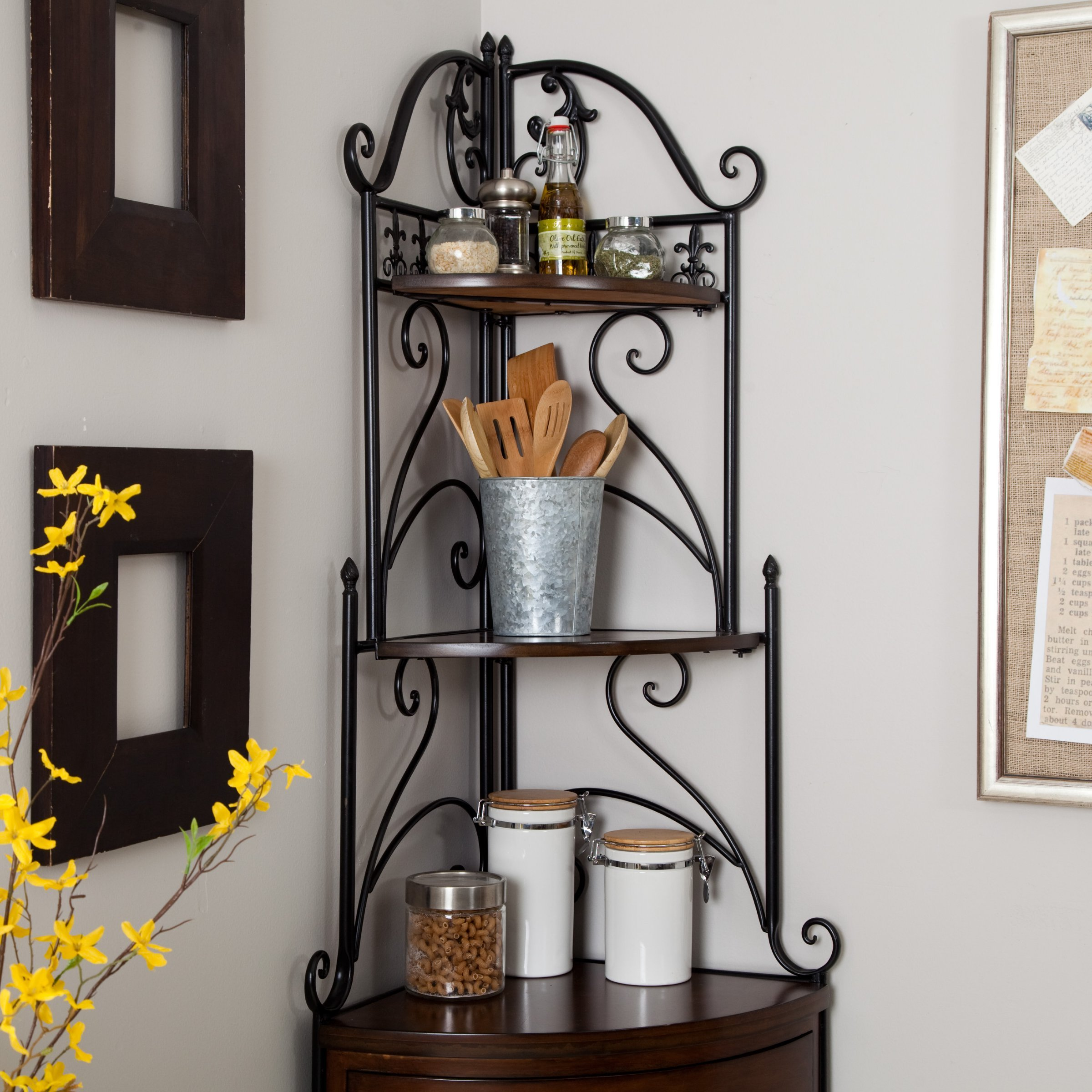 Belham Living Portica Wrought Iron and Wood Corner Bakers Rack by Belham (Image #3)