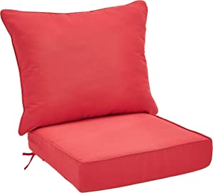 AmazonBasics Deep Seat Patio Seat and Back Cushion- Red