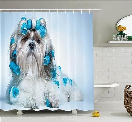 Amazoncom Ambesonne Dog Lover Decor Collection Shih Tzu Dog With
