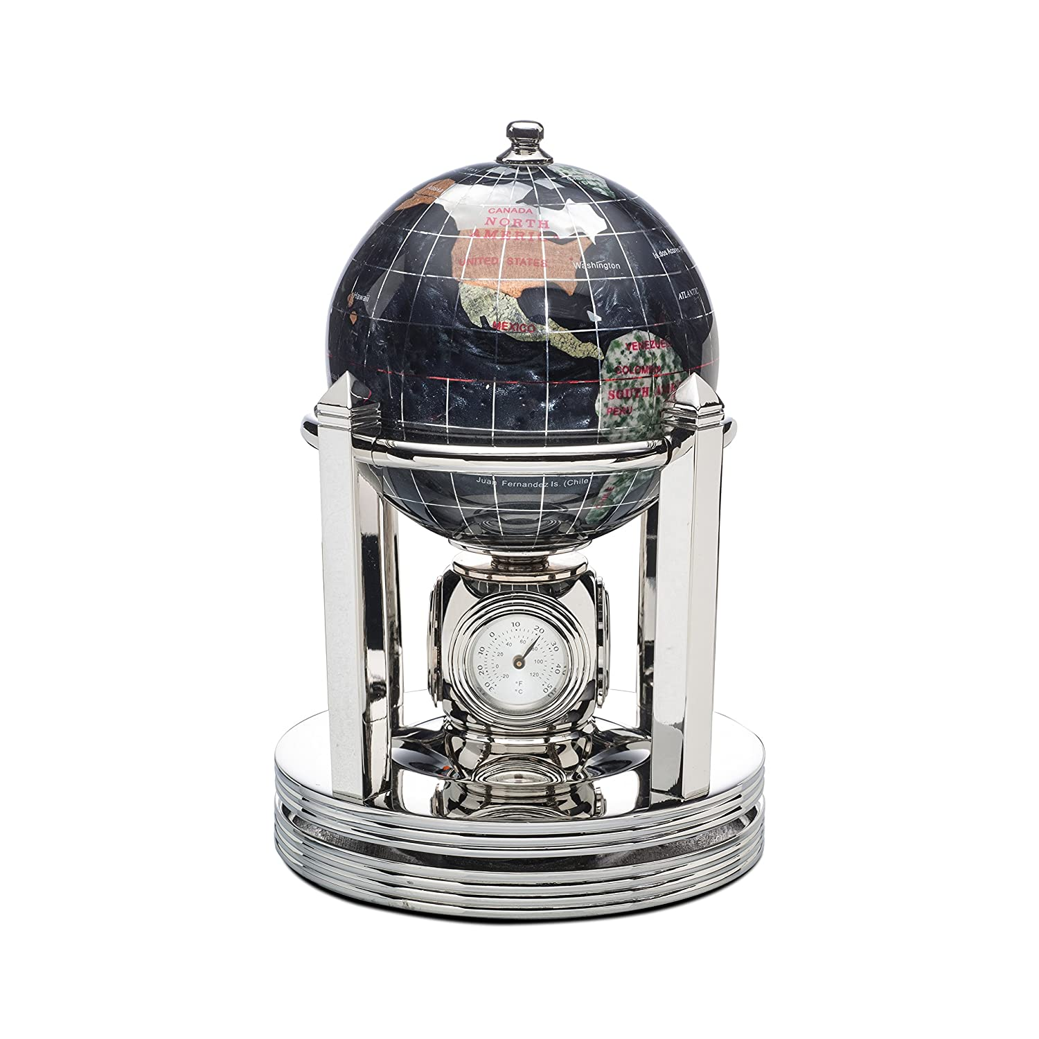 Alexander Kalifano Black Opalite Gemstone Globe with clock, thermometer, and/or barometer