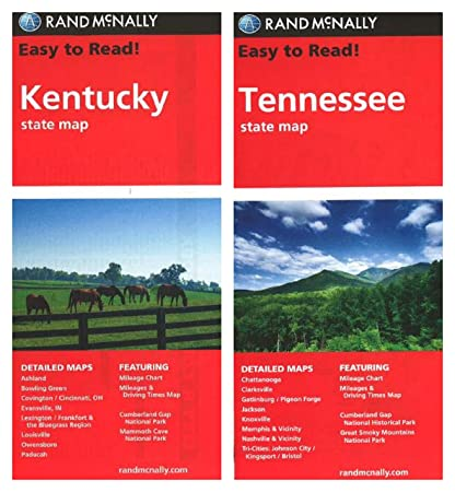 Rand McNally State Maps: Kentucky and Tennessee (2 Maps) on brown maps, white maps, united states maps, motorcycle road maps,