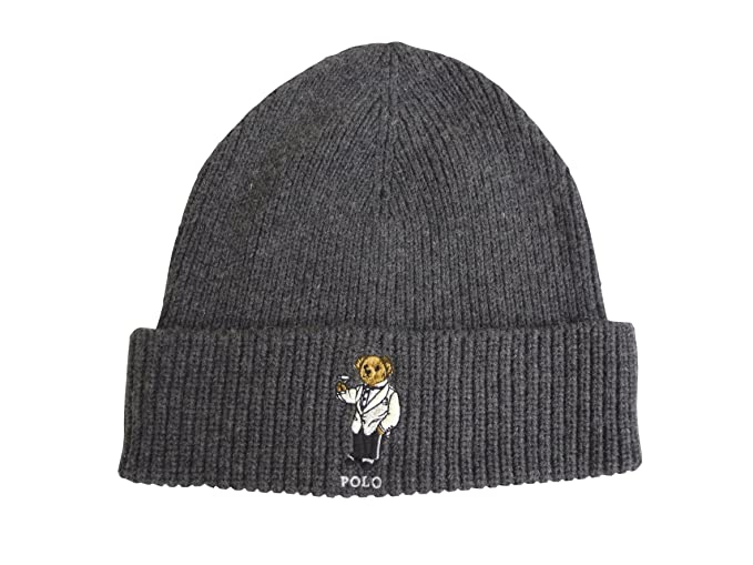 Polo Ralph Lauren Adult s Cuffed Teddy Bear Beanie Knit Hat One Size (Grey) 02632e7aa94