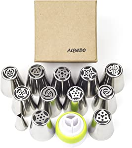 ALBEDO Cake Decorating Tips (23-Piece Tulip Set) - Stainless Steel Russian Piping Nozzles - Create Buttercream Frosting Flower Blossoms & Sweet Confections for Weddings and Birthdays