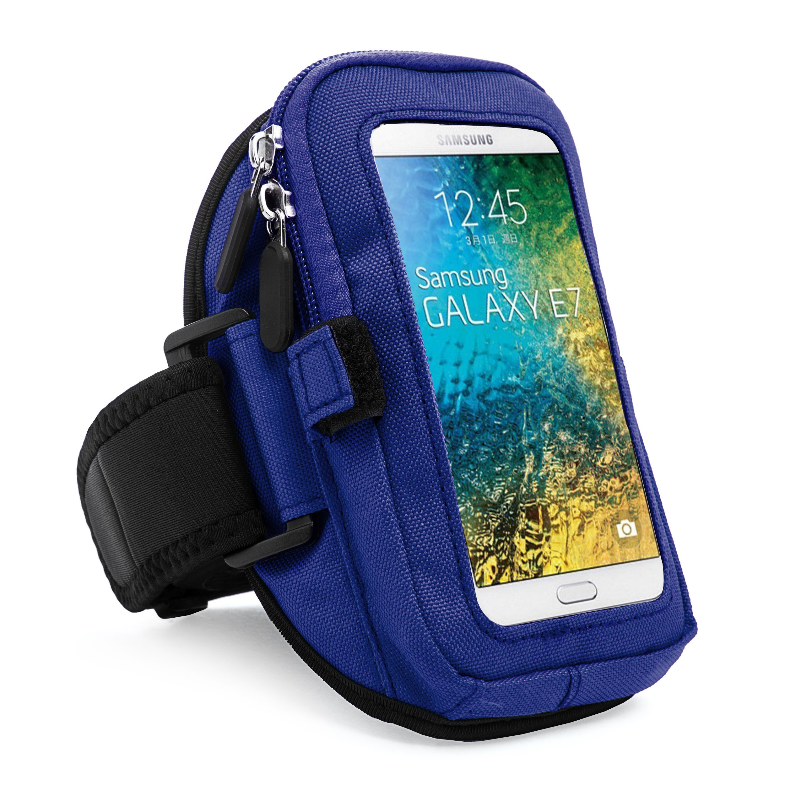 VanGoddy zippered Sport Case Cover Gym Running Armband with removable strap & card/key holder for Samsung Galaxy E7/A7/A5/A3 Fit 4.7 to 5.5 inch Ios Android Windows smart Phone (Blue)