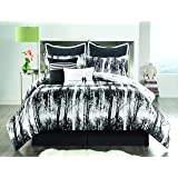 Sunset and Vine Woodland 6-Piece XL Twin Comforter Set, Black/White
