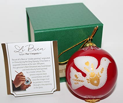 pier 1 imports li bien 2017 red glass collectible peace dove christmas ornament