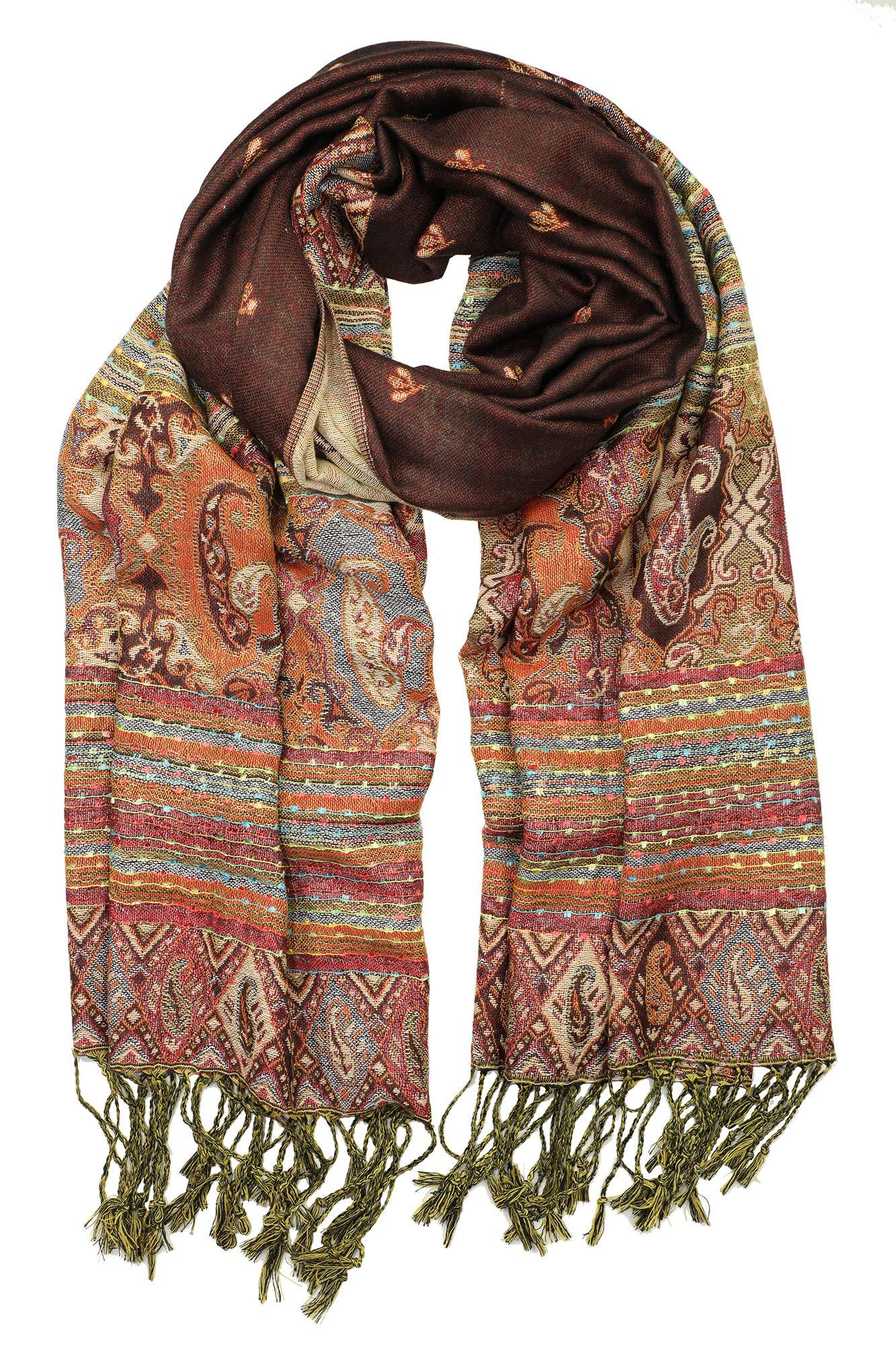 31debbc53 Achillea Soft Silky Reversible Paisley Pashmina Shawl Wrap Scarf w/Fringes