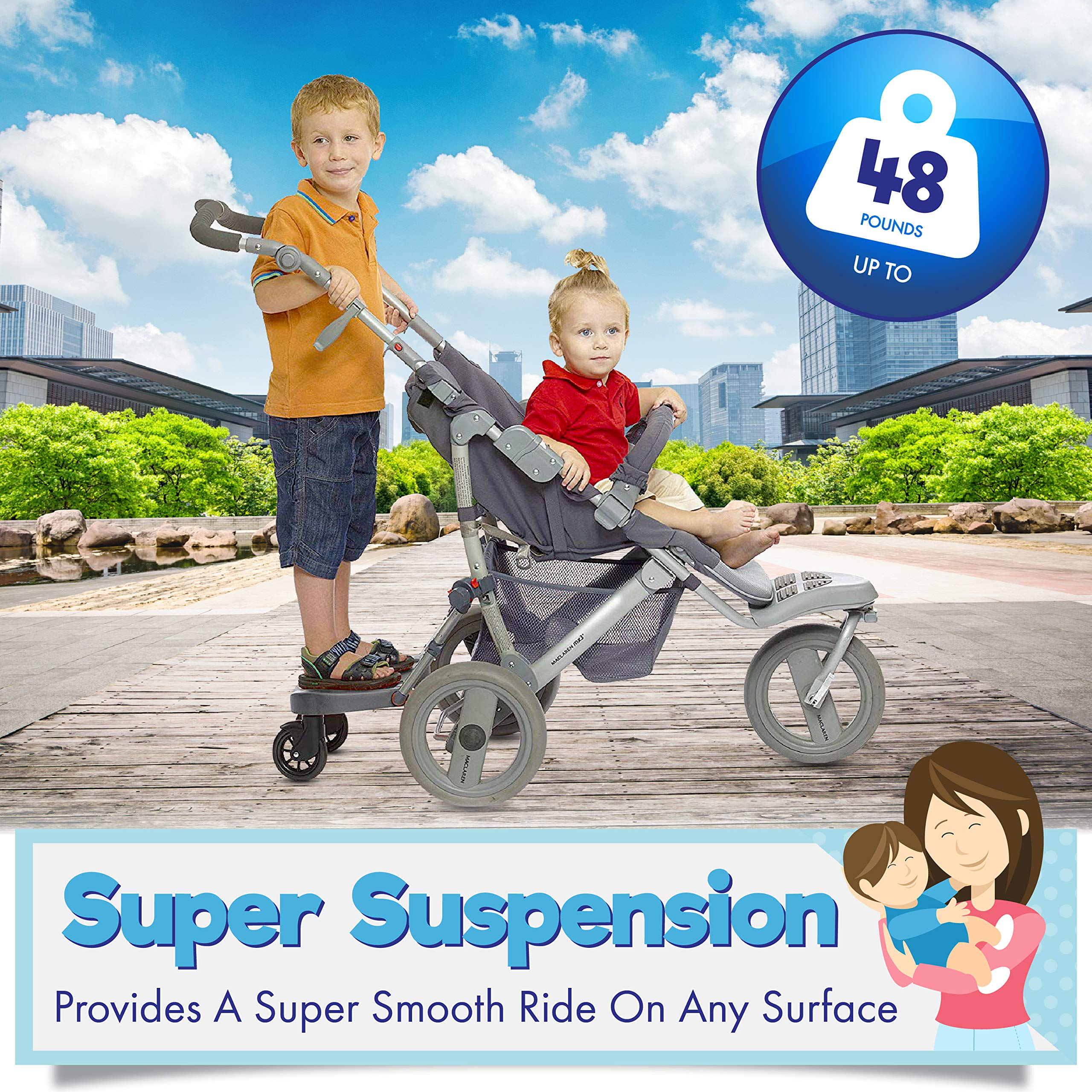 Ride Along - Universal Mount Ride-On Stroller Board Toddler Bump-Free Anti-Slip Buggy Stand by EZ step (Image #5)