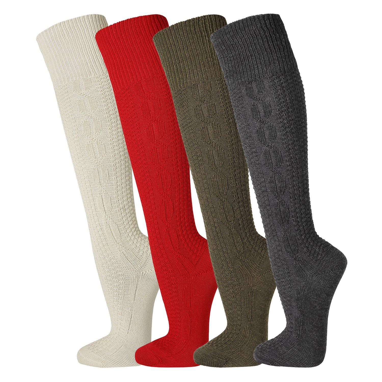 FussFreunde, 2 Paar traditionelle TippTexx24 Kniebundhosenstrümpfe, Kniebundstrümpfe, Trachtenstrümpfe, Trachtensocken in 4 FARBEN