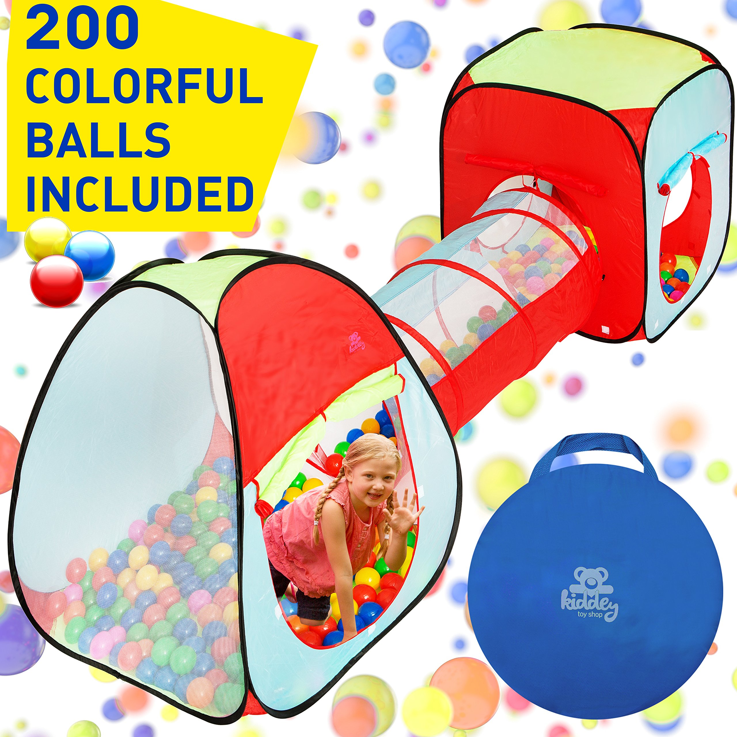 Kiddey 3pc. Kids Ball Pit With 200 Balls, See Through Play Tent Tunnel Set- Crush Proof Balls - Great Gift for Boys & Girls, Toddlers & Babies - Indoor/Outdoor, Carrying Case for Balls and Ball Pit by Kiddey (Image #1)