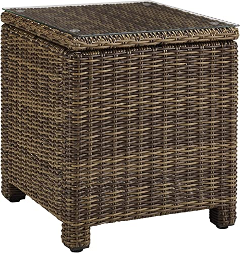 Crosley Furniture CO7219-WB Bradenton Outdoor Wicker Tempered Glass Top Side Table
