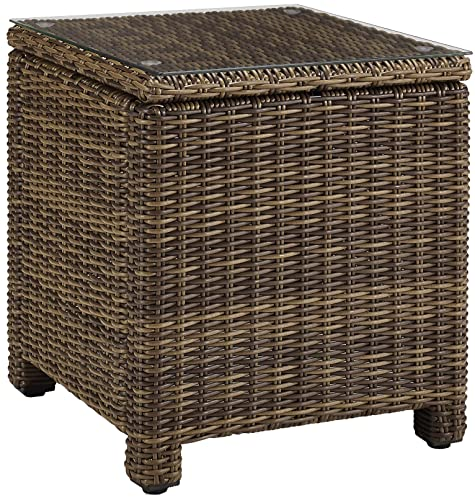 Crosley Furniture Bradenton Outdoor Wicker Rectangular Side Table with Glass Top – Weathered Brown