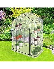 Serre Compacte en PVC | 143x142,5x19 cm, Fer avec Revêtement Poudré | Serre de Jardin Plastique, Tente Abri (Taille au Choix)