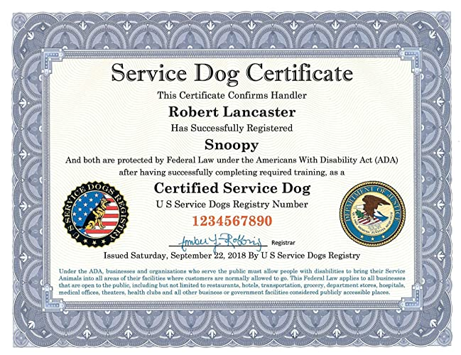 .com: service dog certificate – fully customized including ...