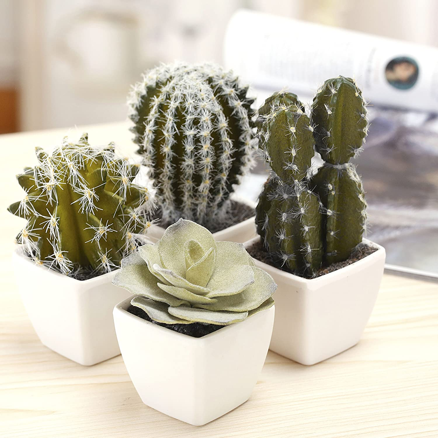 MyGift 5-Inch Mini Assorted Artificial Cactus Plants, Faux Cacti Assortment in Square White Pots, Set of 4