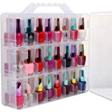 Portable Clear Double Side Nail Polish Organizer Holder Up to 48 Bottle Adjustable Spaces Divider