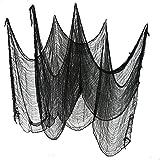 "Set of 2 Black Creepy Scary Gauze Cloth Drape doorways walls entryways Halloween 30""x84"" With Spiders White Webs"