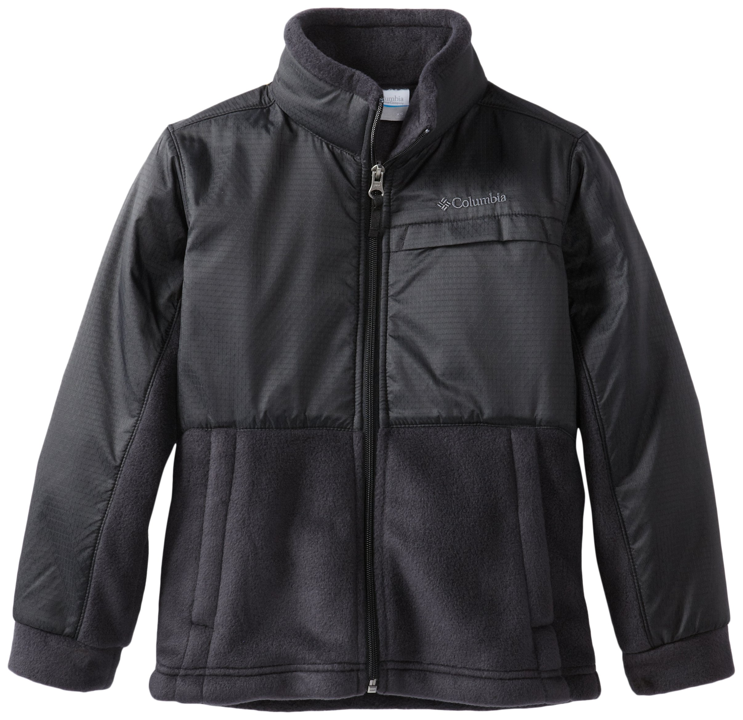 Columbia Little Boys' Steens MT Overlay Fleece Jacket, Black, X-Small (6/7)