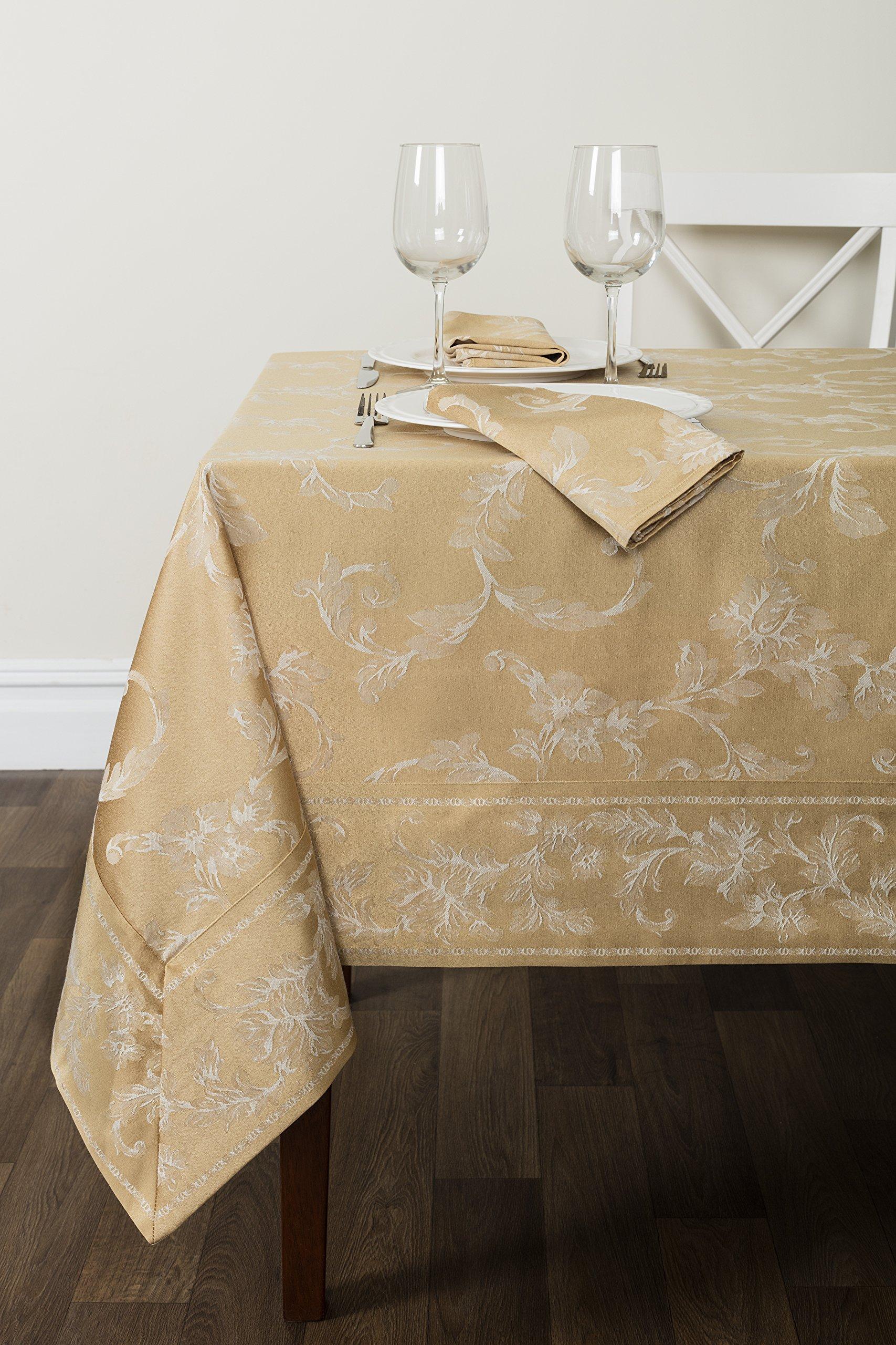 Benson Mills Harmony Scroll Tablecloth (Gold, 60'' X 144'' Rectangular)