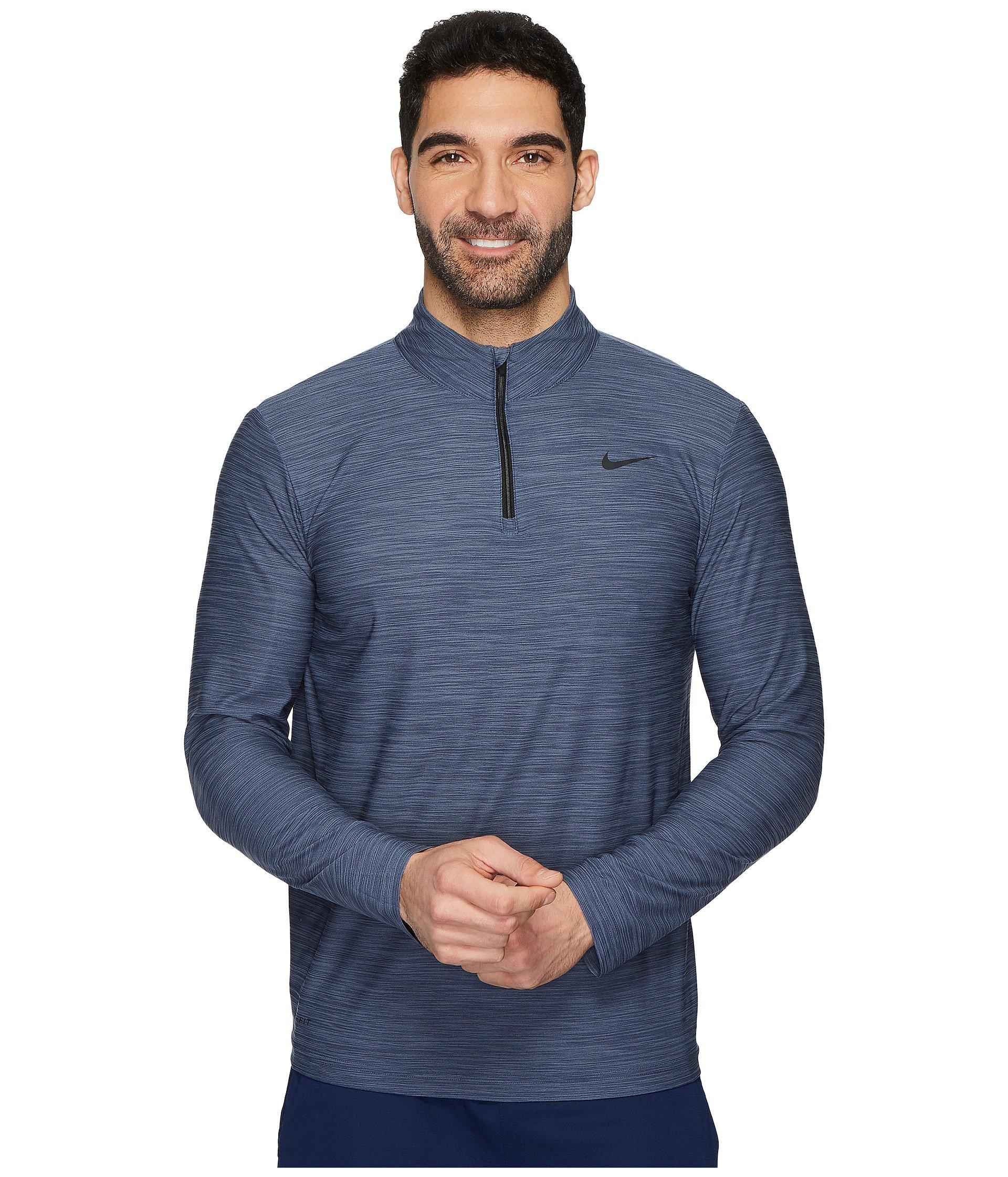 NIKE Mens Breathe Dri-Fit 1/4 Zip Long Sleeve Training Shirt 940177 (XX-Large, Light Carbon/Thunder Blue-Black) by Nike