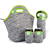 Nordic by Nature Extra Big Insulated Large Neoprene Lunchbag Set: Tote Lunch Bag + Bottle Cooler + 2 Can Insulators | 13,5"
