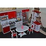 Barbie Sized Dollhouse Furniture- Modern Comfort Kitchen + Dining Room