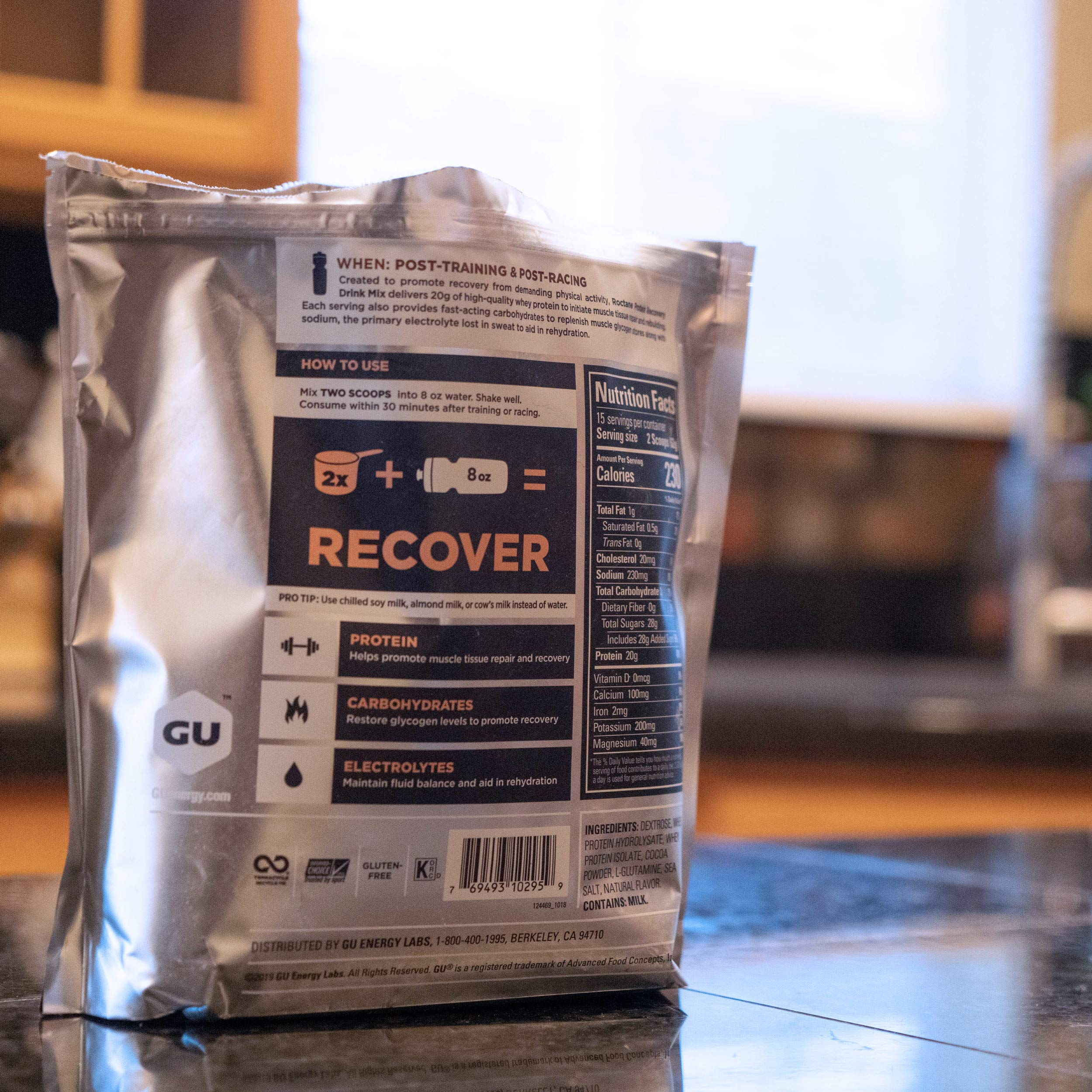 Gu Energy Roctane Ultra Endurance Protein Recovery Drink Mix, 15-Serving Pouch, Chocolate Smoothie by GU Energy Labs (Image #3)