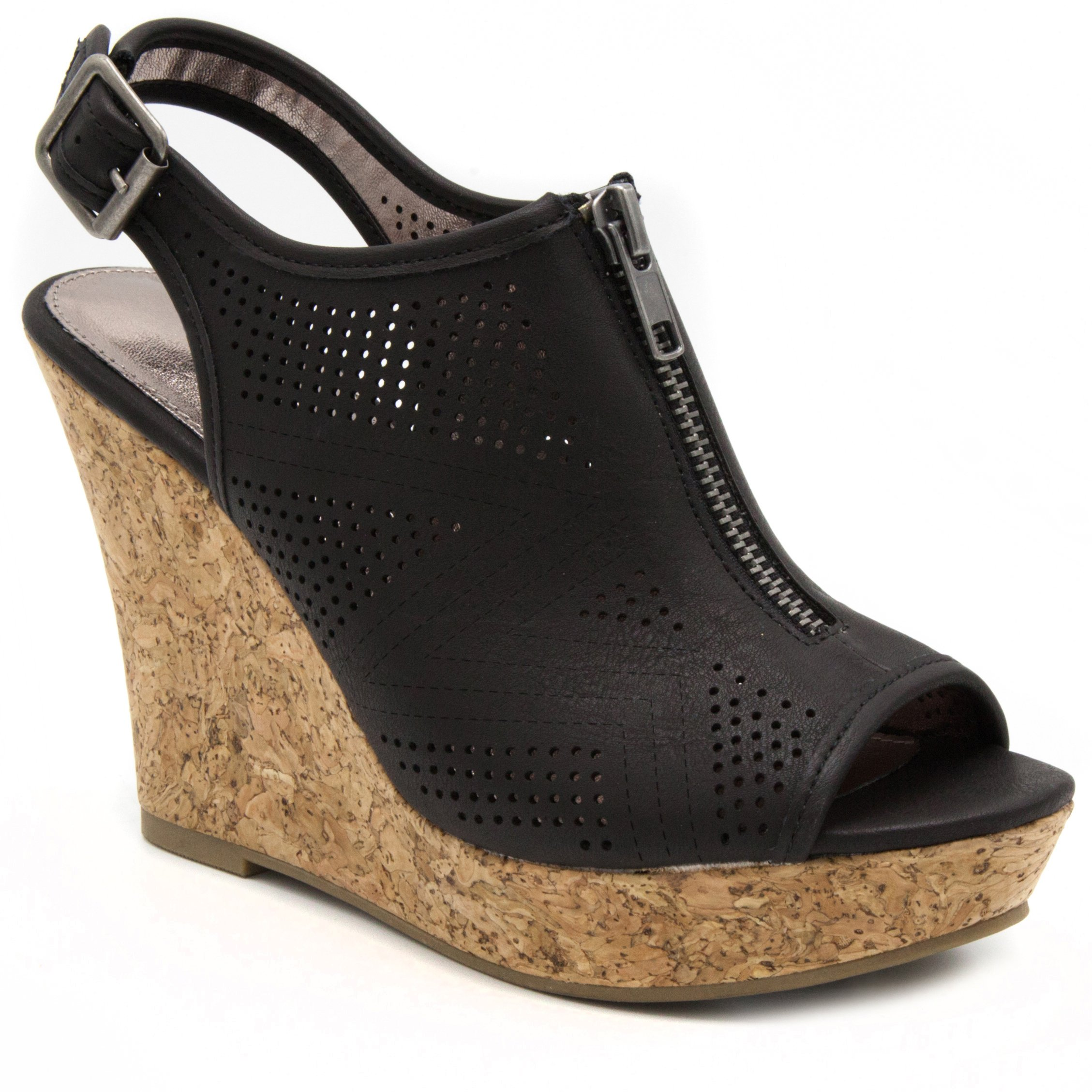 Sugar Women's Caty Fashion Slingback Peep Toe Cork Wedge Sandals with Perferated Design Zipper and Buckle 11 Black