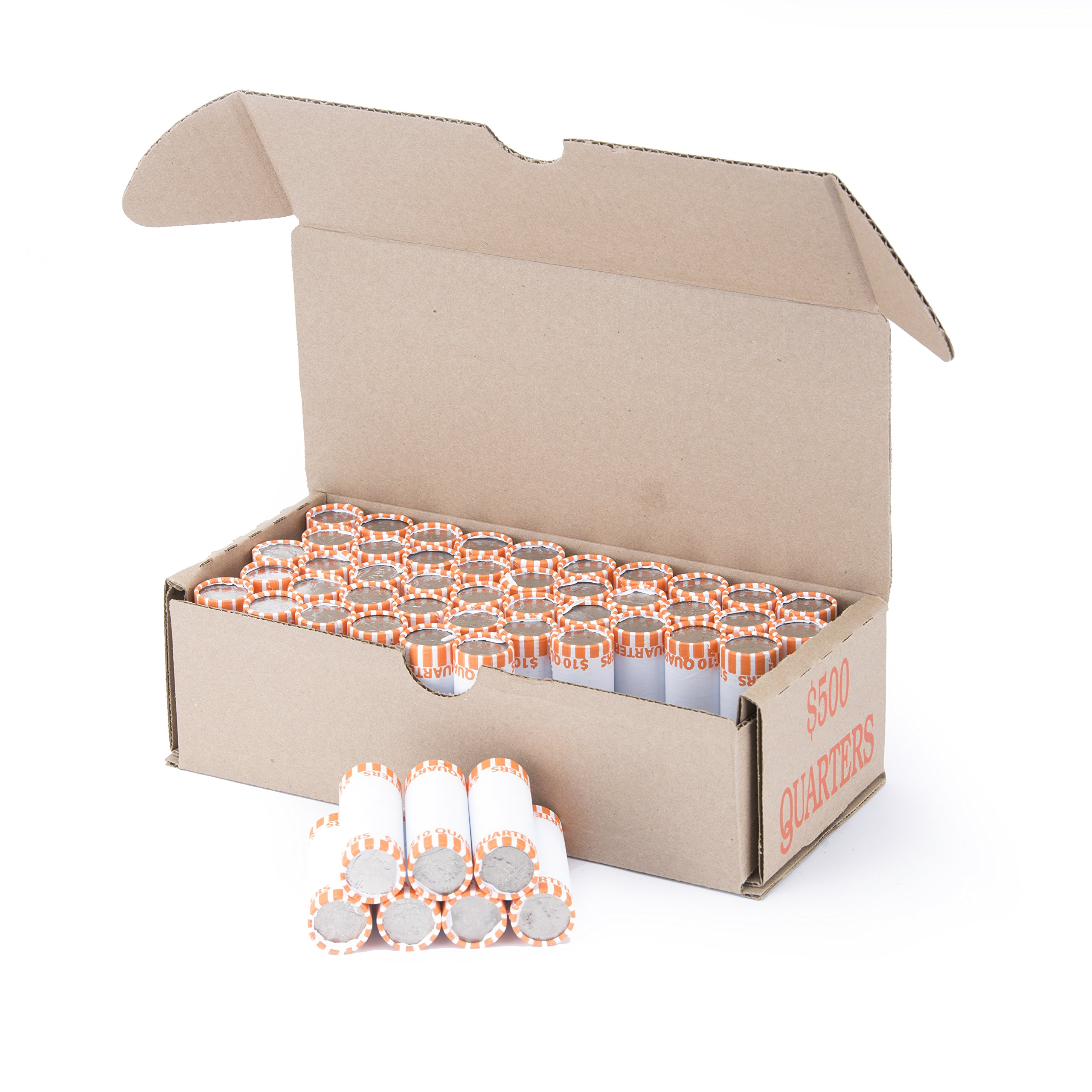 Quarter Storage Box Orange Holds 50 Wrapped Coin Rolls, 50 boxes