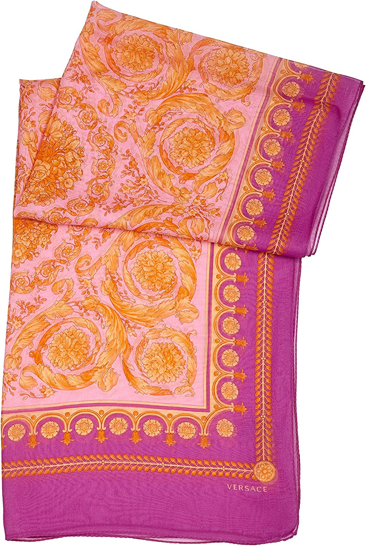 Versace Womens Silk Baroque Scarf Purple Pink