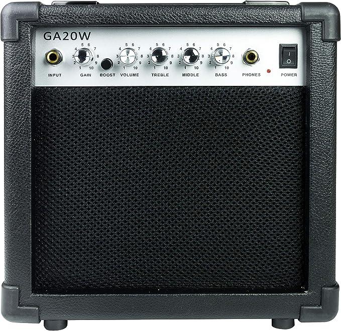 RockJam Amplificador de guitarra de 20 vatios con salida de auriculares y efectos