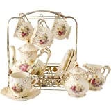 ufengke 11 Piece Creative European Luxury Tea Set, Ivory Porcelain Ceramic Coffee Set With Metal Holder, Hand Painted Red And White Rose Flower, For Wedding Decoration